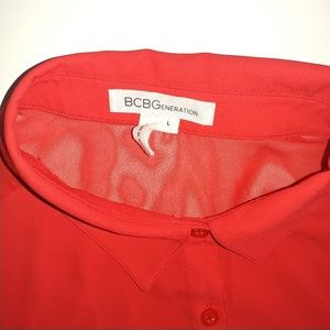 BCBGeneration Tops - BCBGeneration Sheer Red Top Size Large Long Length